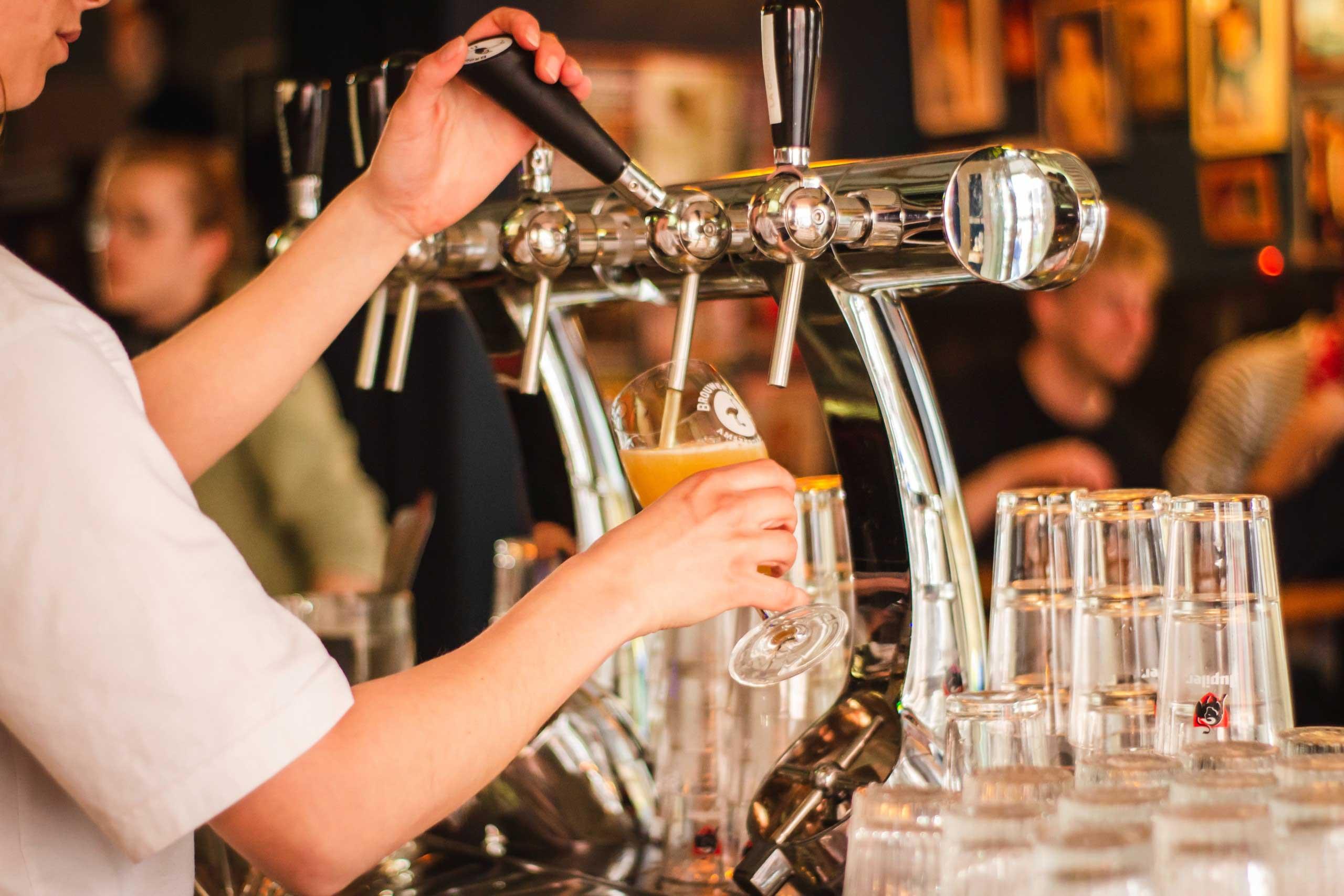Man serving drinks