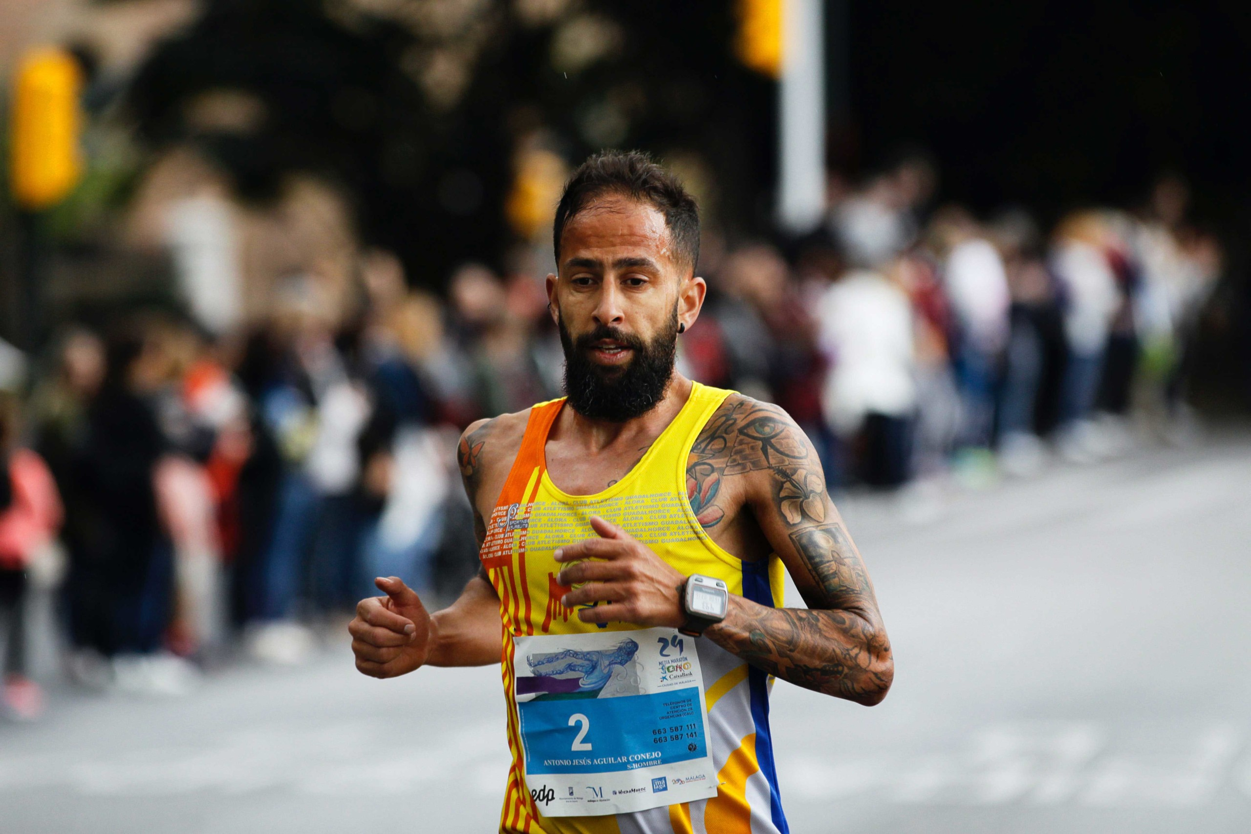 Man running in a running race