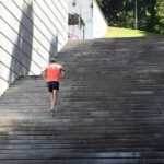 Man running up the stairs