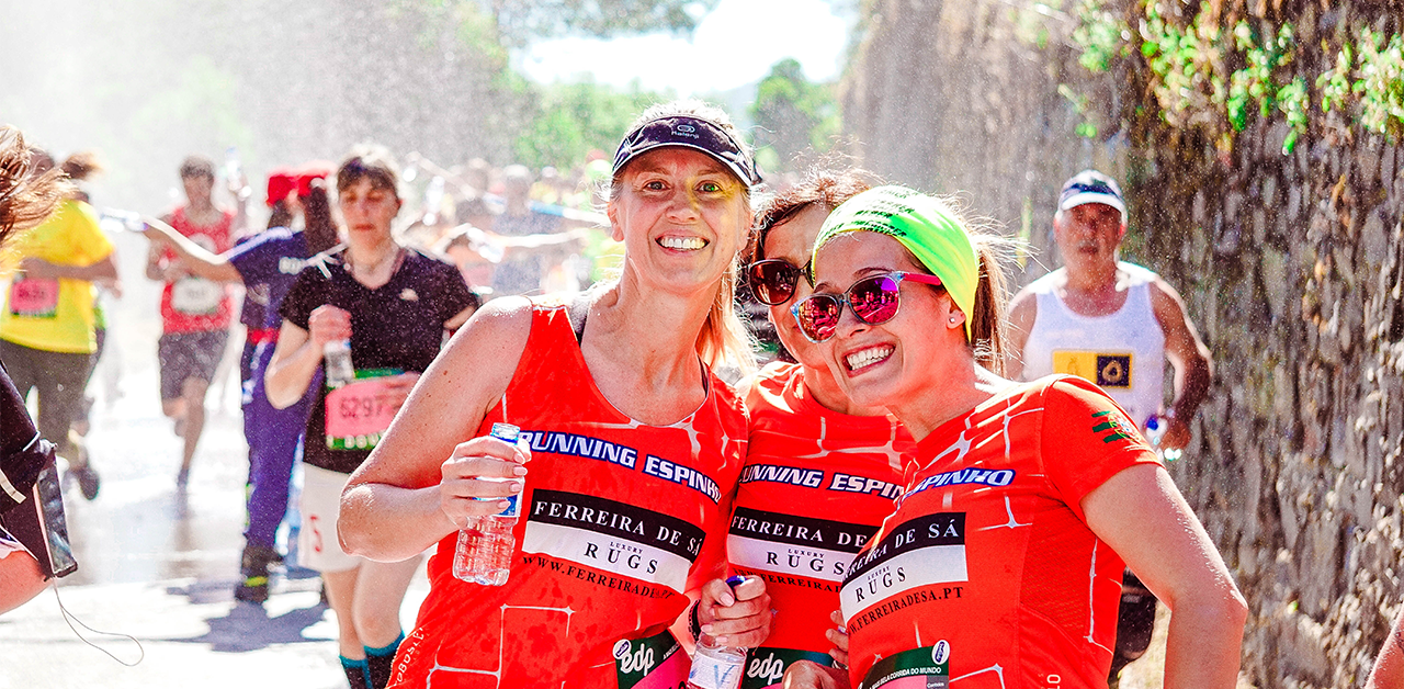 Group of three women training/racing together