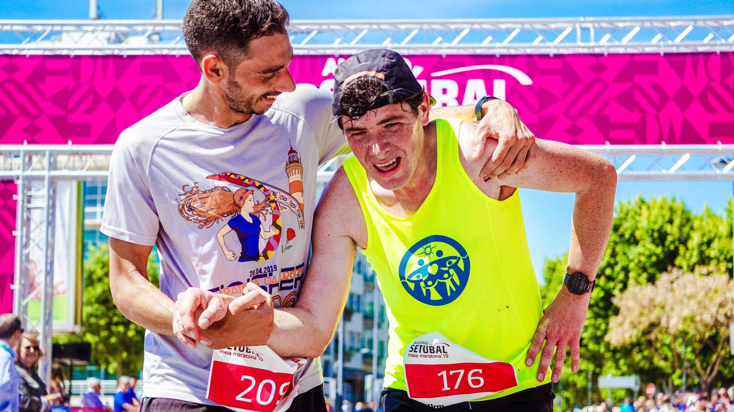 Two men after finishing a running race