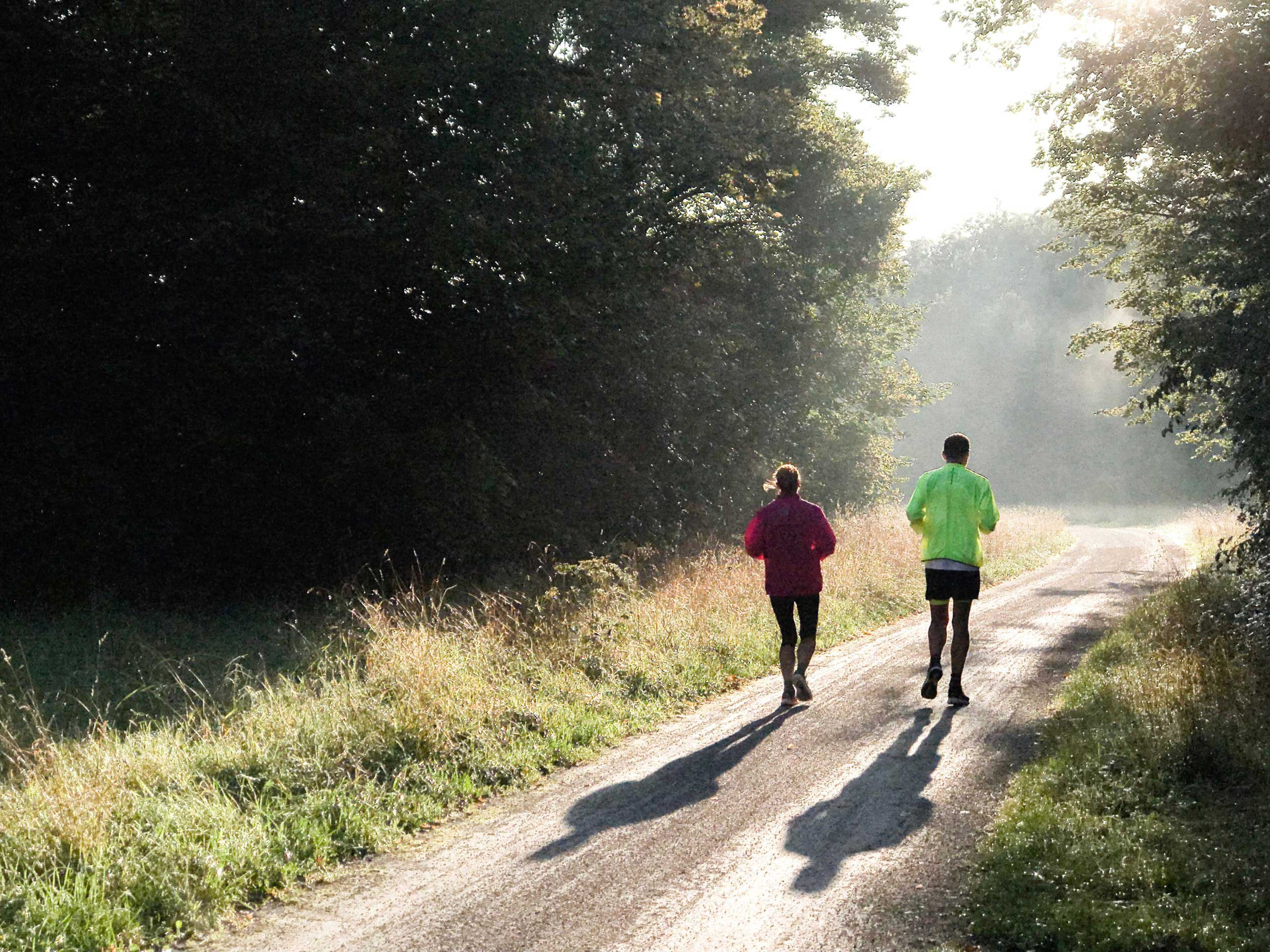 Two people out running