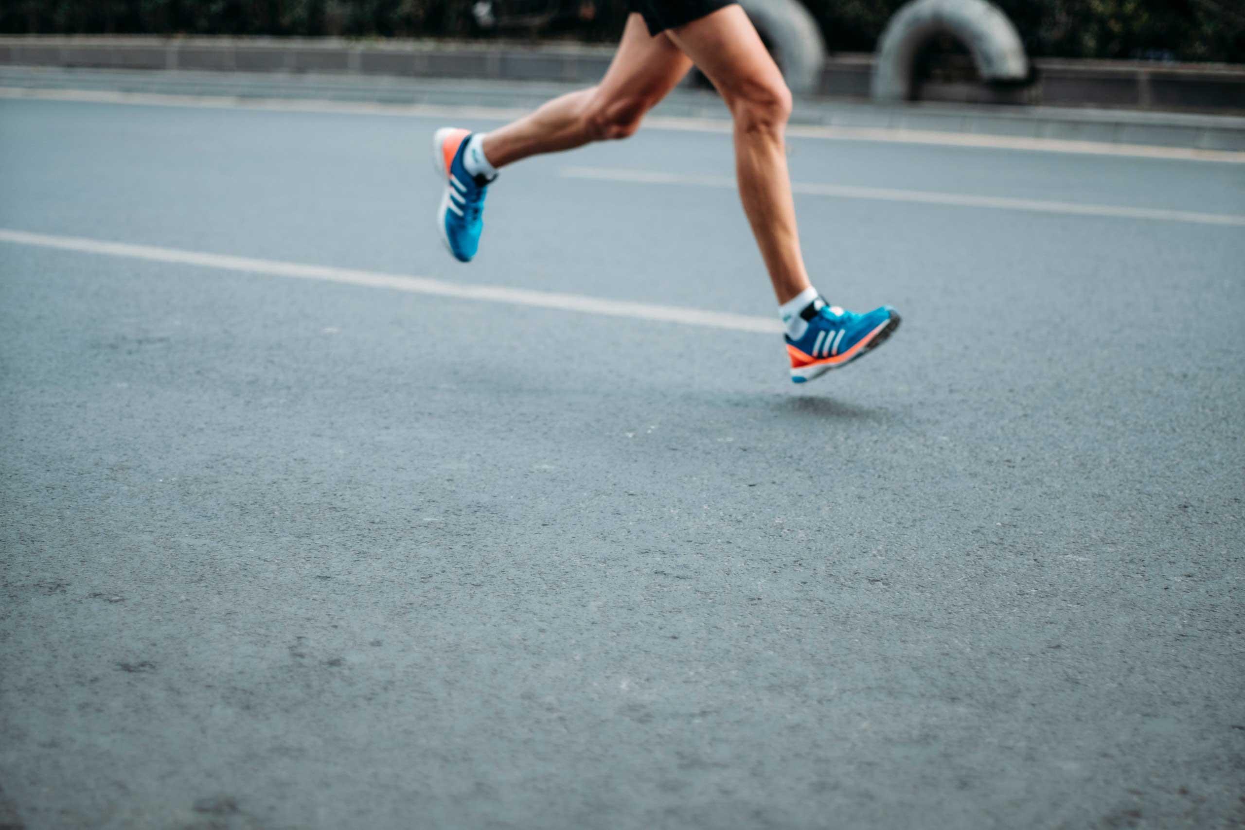 Man running on the roads