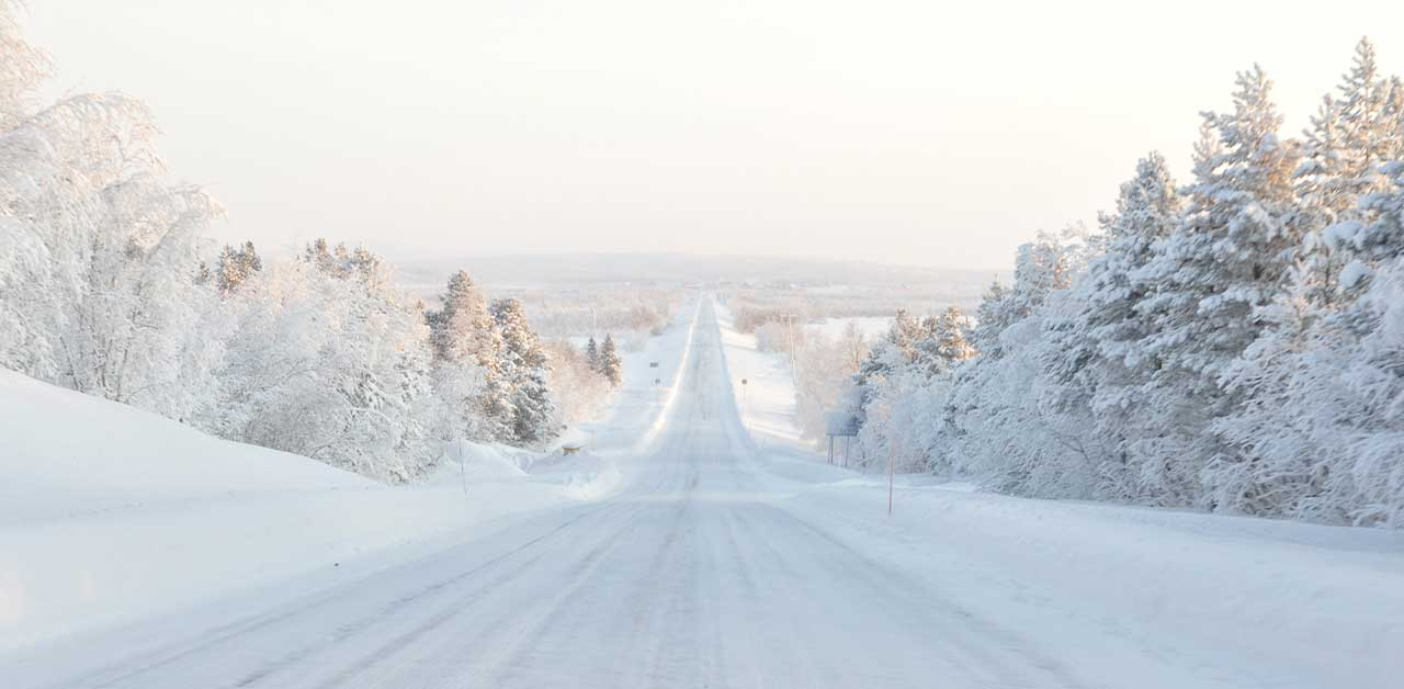 Icy road in Finland