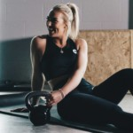 Woman performing home workout