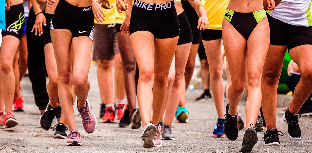 Group of runners running together